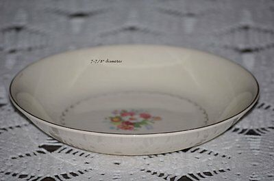 "FOUR Paden City Pottery 8"" Soup Bowls Pastel Floral Center Gold Scroll pink"