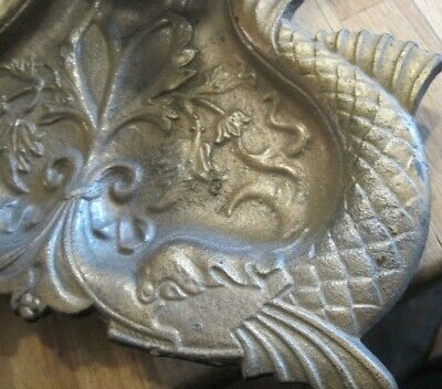 Antique SILVER METAL Victorian DOLPHIN Fish PATTERN ANDIRONS fireplace fire dogs