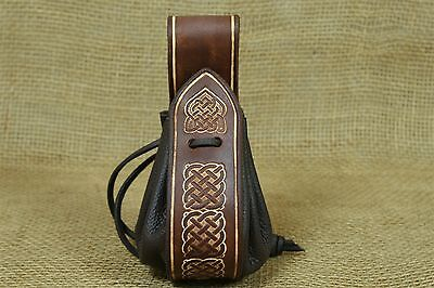 Viking Coins bag Leather brown Embossing Viking Knots Belt loop Viking