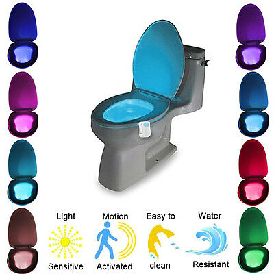 LED 8 Colors Night light Motion Sensor Automatic Toilet Seat Bowl Bathroom Lamp