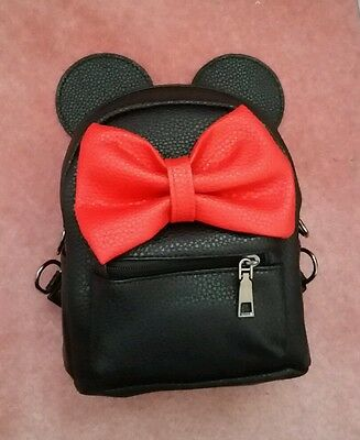 disney minnie mouse inspired black bright red bow mini backpack