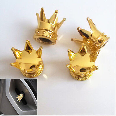 Gold Universal Chrome Crown Style Car Tire Air Valve Stems Cover Caps Wheel Rims