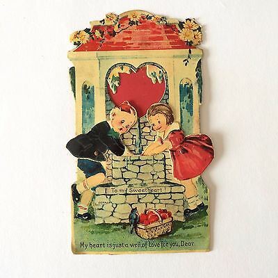 Movable Children at Well  ~  Vintage Valentine Greeting Card