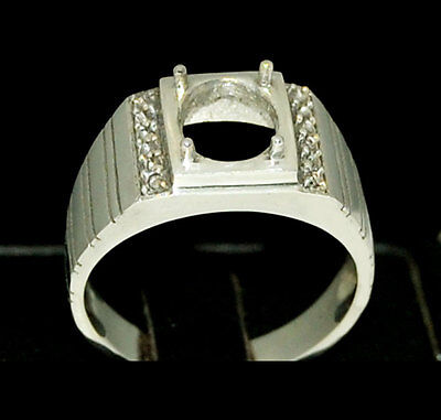 Semi mount mens silver ring setting oval 9 x 7 mm size 7 8 9 10 11 12