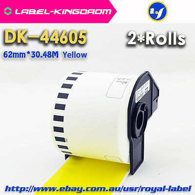 2 Rolls Brother QL-700 Compatible DK-44605 62mm Continuous Yellow Label DK-4605