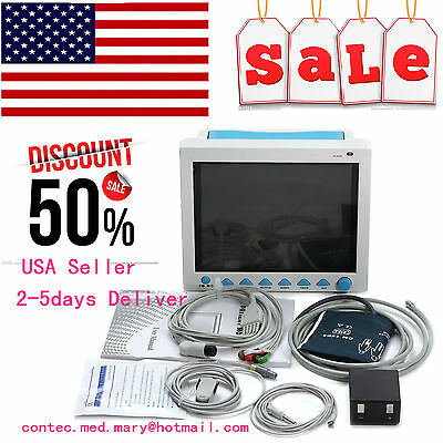 US seller, ICU Patient Monitor 6 parameter Vital Sign SPO2 ECG NIBP TEMP RESP Pr