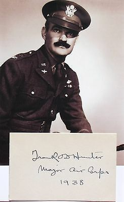 Frank O. Hunter World War I Ace 103rd Aero Squadron 9 Victories Signed Card
