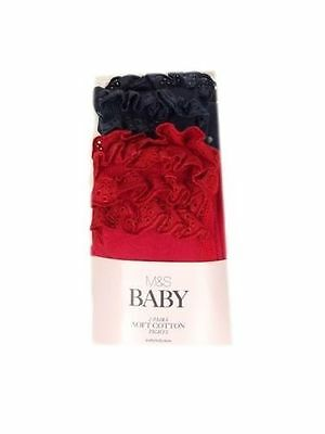 Ex- M&S Baby Tights 2 Pack Red & Navy Cotton Polka Dot With Frilly Bum! Bnwot