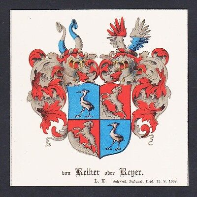 19.Jh. Reiher Reyer Wappen Heraldik coat of arms heraldry Chromo Lithographie