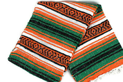 Mexican Falsa blanket in orange and aqua theme throw mat yoga rug new genuine