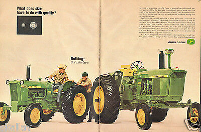 1964 2 Page Print Ad of John Deere 1010 & 4020 Farm Tractor