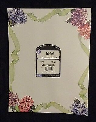 GREAT Computer Printing Paper 100 Stationery Sheets Hydrangeas USA  NIP New