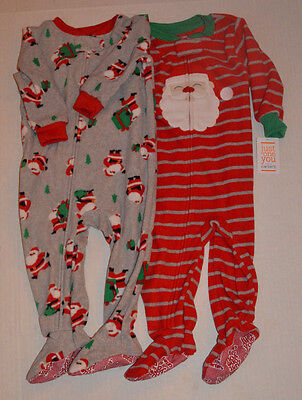 68ec9a380 NEW Lot Of 2~Toddler Boys Santa Claus Fleece Footed Holiday Christmas  Pajamas