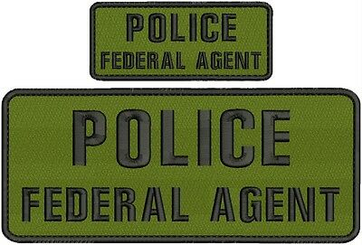 police federal agent embroidery patch 4x10 and 2x5 hook on back   OD