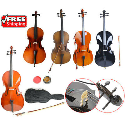1/2 3/4 4/4 Size Basswood Acoustic Cello +Bag+ Bow+ Rosin+ Bridge