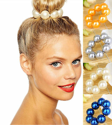 Silver Gold Pearl Hair Band Rope Scrunchie Ponytail Holder Hair Accessories 2016