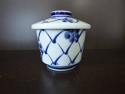 Blue & White Japanese Cup Bowl with Lid
