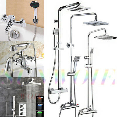 Bathroom Mixer Shower Set Tap Twin Head Round Square Chrome Thermostatic Unit UK