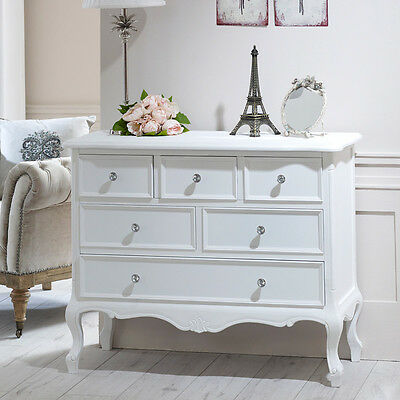 White wooden large chest of drawers shabby vintage chic French bedroom furniture