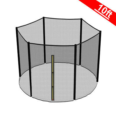 10FT 6 Pole Trampoline Replacement Safety Net Enclosure Surround Outside Netting