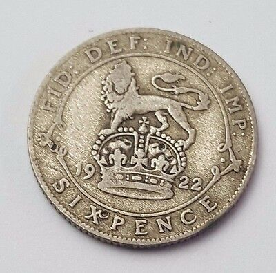 1922 - Silver - 6d / Sixpence - Great Britain - King George V - English UK Coin