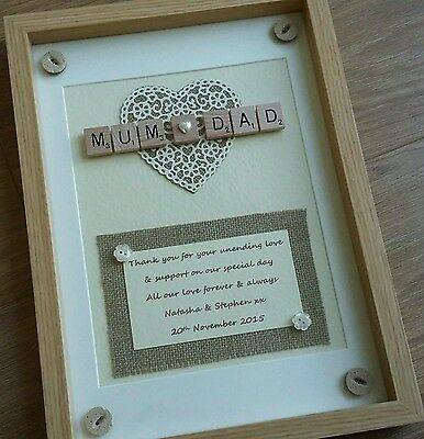 Personalised Wedding Scrabble Frame Parents of the bride/groom Thank You Gift