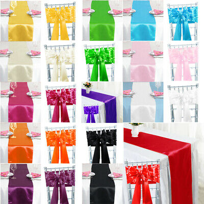 Satin Sashes Chair Cover Bow Satin Table Runner Wedding Banquet - 20 Colours