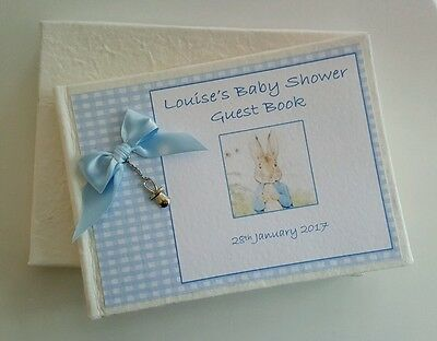 **personalised Guest Book Gift Boxed Baby Shower - Boy Girl Beatrix Potter Peter