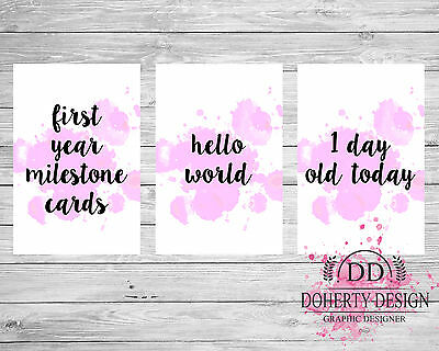 New 'PINK' Watercolour Milestone Cards (28 Cards Pack) {Photo Props} CLEARANCE
