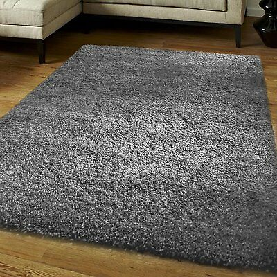Modern 5cm Thick Plain Soft Shaggy Rug Non Shed Pile Size Small Large Rugs Grey