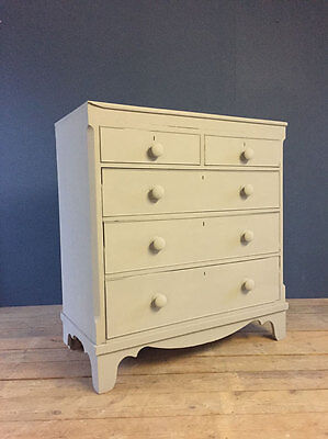 Large Painted Grey Gray Vintage Bed Room Chest Drawers Shop Storage Cabinet