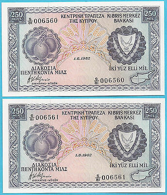 CYPRUS 1982 250 mils TWO CONSECUTIVE BANKNOTES in CRISP UNC IMMACULATE CONDITION