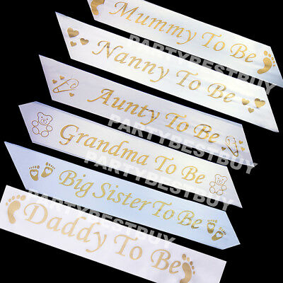 GOLD BABY SHOWER SASHES Mummy to be Nanny Aunty Big Sister & Grandma to be white