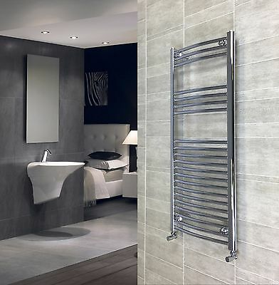 500 mm Wide 1200  mm High Curved Chrome Heated Towel Rail Radiator Central Heat