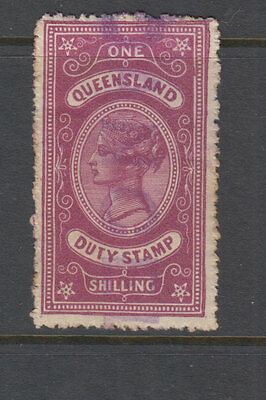 QLD 1892 1/- Red QV STAMP DUTY Revenue-handstamped CANCELLED Elsmore cat $40 FU