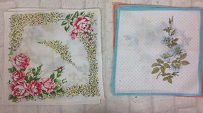 Vintage 1960's 6 Painted Flower Pattern Dotted Square Handkerchiefs