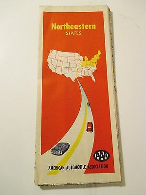 1954 AAA NORTHEASTERN STATES Road Map~Red Cover