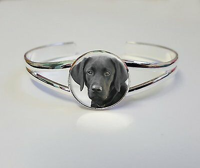 Black Labrador On A Silver Plated Bracelet Bangle Costume Jewellery Gift L72