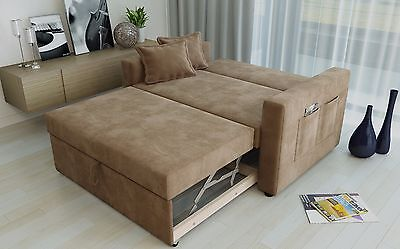 Ravena 2 Seat Sofa Bed Fabric 3 Colours Click Clack Pull Out Living Room Sofabed