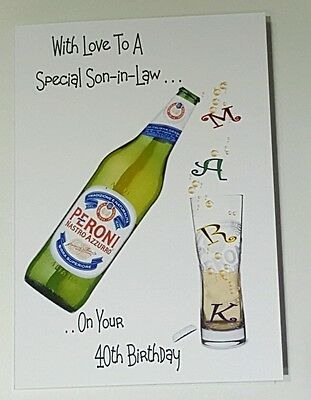 Personalised 40th Birthday Card Son In Law Bottle Larger Beer IPA Ale BOXED OPT