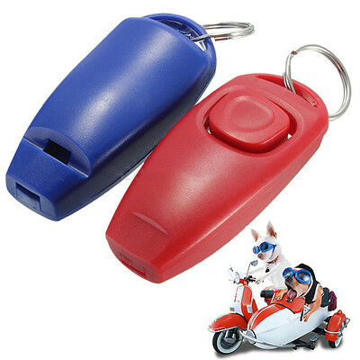 Pet Dog Puppy Click Clicker Training Trainer With Whistle Agility Keyring