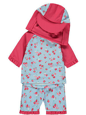 Baby Girls 3 Piece Strawberry Swimsuit with Hat Sun Protection UV40 Set NEW BNWT