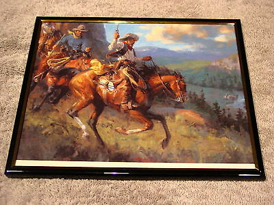 COWBOYS ON HORSES 8X10 FRAMED PICTURE ( poster )