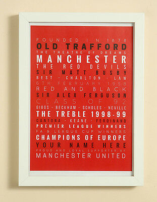 Manchester United FC Football Word Art Print Christmas Gift Framed Personalised