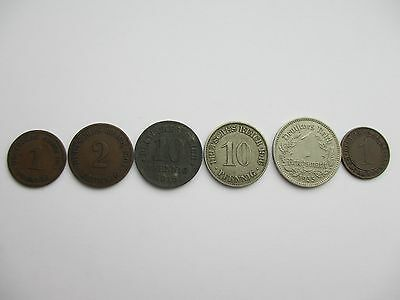 Germany lot of 6 German coins 1901 - 1936