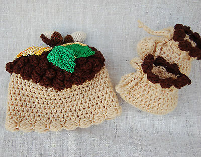 Baby boy's newborn knit hat and booties Thanksgiving outfit,acorn costume,gift