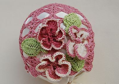 Girl's 0-6 months knit cotton hat: FLOWER SPIDERWEB,Easter costume,gift,photo