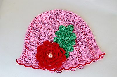 Girl's newborn cotton knit sun hat : SPRING ROSE BLOOM,Easter gift,new baby