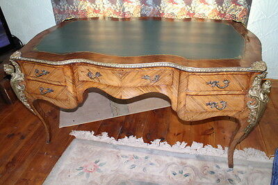 king wood and walnut Louis XVI style bureau plat desk