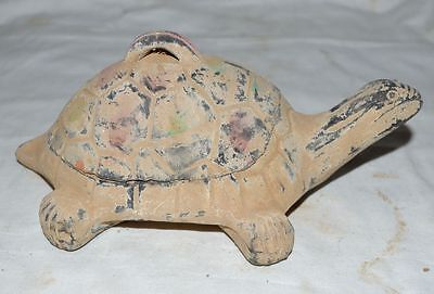 Chinese Ancient Old Clay Bury Antiuqe Tomb Burn Ink Stone Tortoise Statue Rare 2